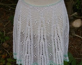Crochet half apron - White with mint green