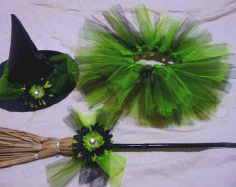Tutu Witch Costume - Lime and Black - Infant / Toddler