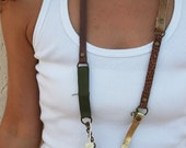 Mixed jewelry necklace made with fabric leather  brass chains