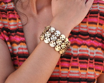 Gold leather bracelet, handmade reversible leather bracelet made with little  circles which form a mesh. Gold and brown.