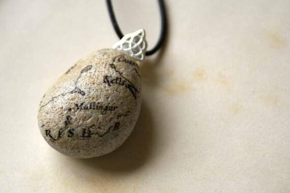 Beach Stone Pendant with Vintage Irish Map -- Handmade in Ireland