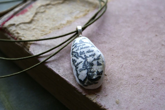 Beach Stone Pendant with Vintage Irish Map -- Handmade in Ireland