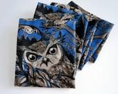 Blue Night Owl Warm Fleece Scarf