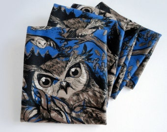 Blue Night Owl Warm Fleece Scarf
