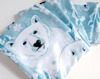 Baby Blue Arctic Polar Bear Warm Fleece Scarf