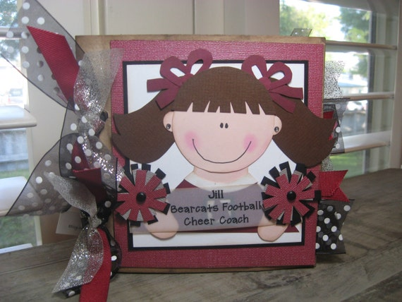 Cheer, Cheerleader, Cheer Coach, MADE TO ORDER,  mini 6x6 paperbag scrapbook album