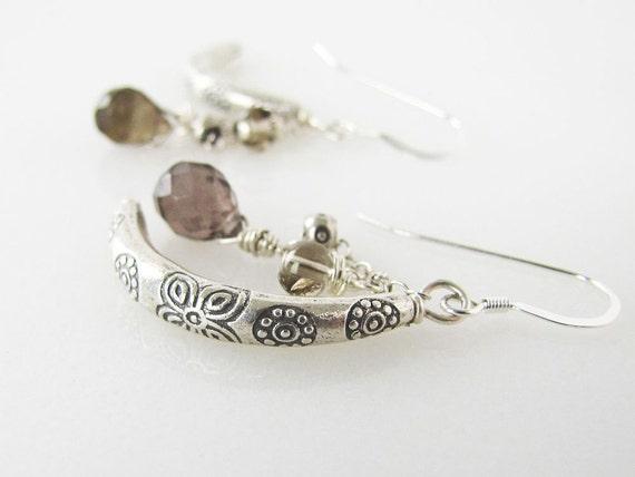 Bohemian Oats Earrings - neutral silver gray glowing smoky brown handmade fabulous funky get you noticed