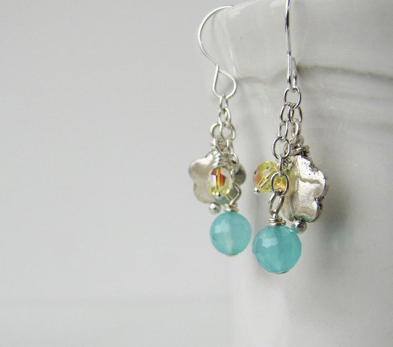 summer afternoon ... earrings ... blue chalcedony