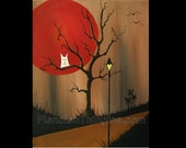 """Light My Path original acrylic painting on 16"""" x 20"""" canvas by Owen Klaas owl tree brown red"""