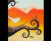 """Bird on a curly branch original acrylic painting on 16"""" x 20"""" canvas by Owen Klaas"""
