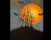 """This is Halloween original acrylic painting on 16"""" x 20"""" canvas by Owen Klaas"""