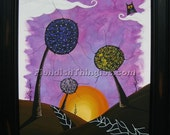 "Don't Wake Me pt. 3  8"" X 10"" print of acrylic painting by Owen Klaas dream purple sun trees path owl"