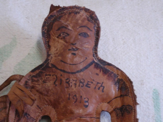 Antique Folk Art Leather Doll