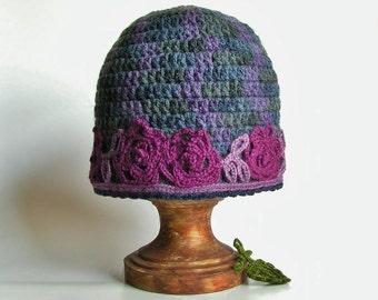 purple gray crochet beanie hat for women with flower applique, purple gray winter hat, crochet beanie in purple gray.