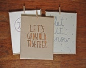 Set of 3 Hand-drawn Greeting Cards - Let it Snow, Te Amo, & Let's Grow Old Together
