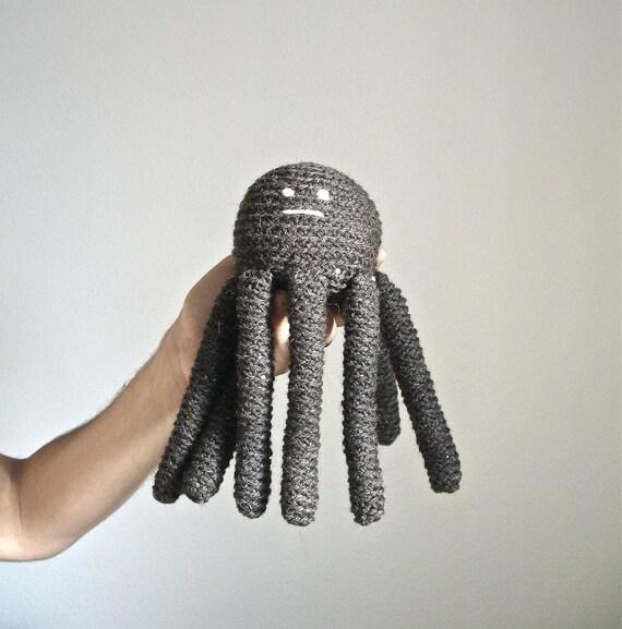 Theodore the Octopus - Handmade Stuffed Animal - Natural Wool & Organic Cotton