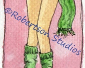 Legs Series 1 - Jenny - Original ACEO - Watercolour and Ink