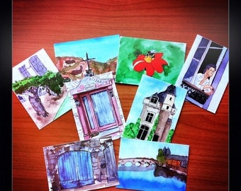 ACEO PRINTS - Scenes of France 8 pack