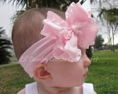 Light Pink Ruffled Double Layered Hair Bow on Pink Soft Stretchy Headband - For Baby, Toddler, Young Girls
