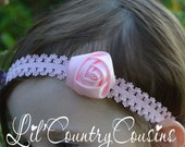 PRETTY PINK Rolled Satin Rosette on Lace Stretch Headband - Perfect for Photo or Special Occasion - Great Size for Babies