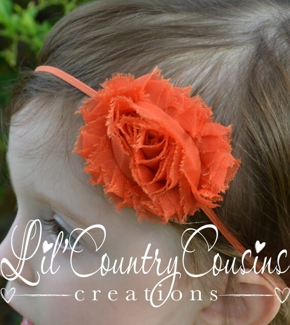 SHABBY - FRAYED - Summer - PUMPKIN Orange - Chiffon Rosette on Thin, Stretchy Headband - Perfect for Babies, Toddlers, Little Girls