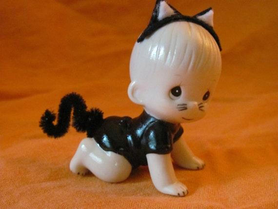 Altered Precious Moments Figurine - Halloween Black Cat Baby