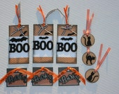 Halloween Black Cat Spooky Boo Chip board tags