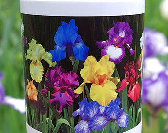 Iris Garden 11 ounce ceramic mug, floral coffee mug