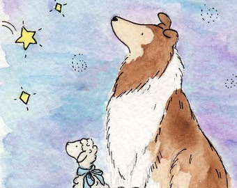Collie Art- Wishing Star Print, Nursery Art, Nursery Wall Decor, Children's Wall Art, Children's Art, Puppy Nursery Art. Collie Gift, Baby