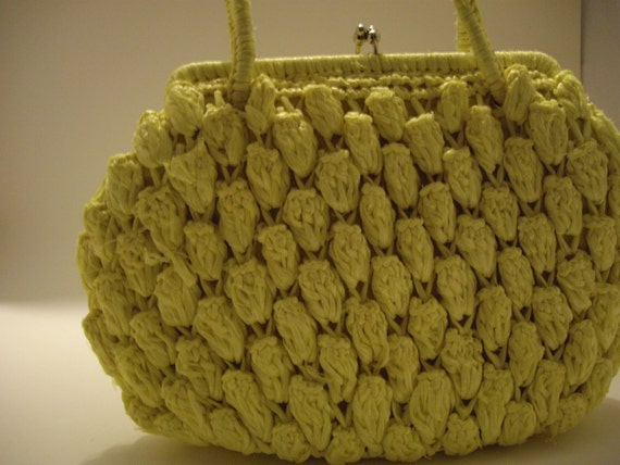 Vintage Lemon Yellow Handwoven Raffia Straw Purse