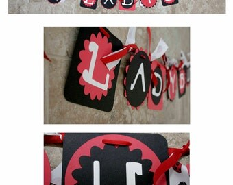 Ladybug - red - black - white - Birthday - Baby Shower - Banner - (8 characters and a ladybug at each end)
