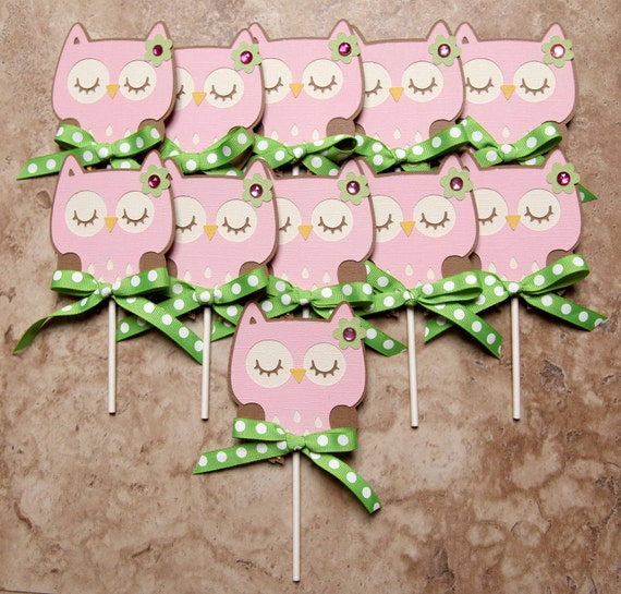 Owl with green ribbon cupcake toppers- 12 pack pink