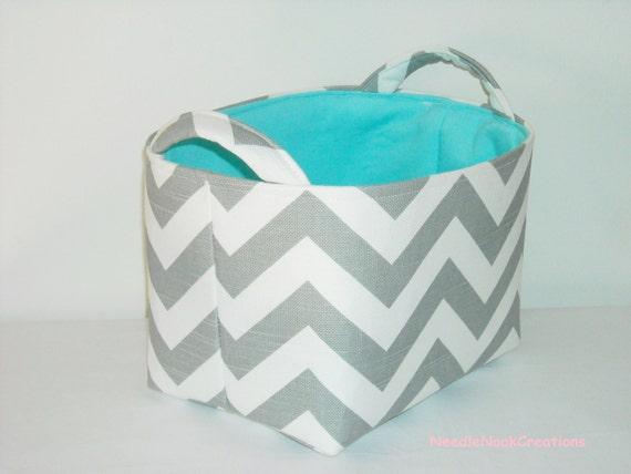 Fabric Basket Organizer Bin -Gray and White Chevron