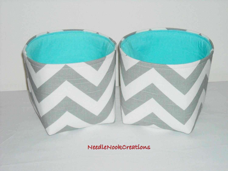 Small fabric baskets organizer bins storage bins gray and for Teal bathroom bin