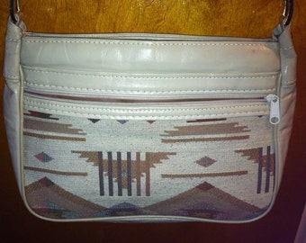 Vintage Vinyl and Cotton Woven Handbag