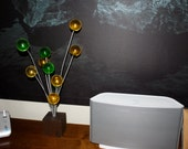 Mid Century Pottery Ball Burst Atomic green and yellow large lucite balls sculpture
