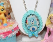 Grumpy Bear Care Bears Cameo Necklace SUper Kawaii Pink Bow 80's child NO further Discount can be used please