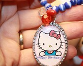 Happy Birthday Necklace  Hello Kitty Cameo necklace Blue Glass beads so Kawaii Cobalt blue vintage beads