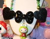 Hello Kitty Necklace Keroppi from so kawaii Green Retro Beads Kawaii Black glitter hearts and Huge Bow