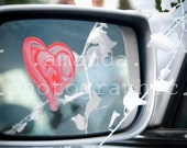 Red Heart on Side-Mirror Postcard - Set of 10