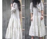 Patchwork Romantic Long Dress/ Navy/ Grey/ White/ Brown