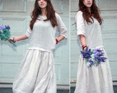 Ethnic Style Accordion Fold Dress With 3/4 Sleeve/ 22 Color/ RAMIES