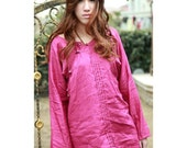 Ethnic Style Linen Blouse with Handmade Silver  Buttons / 22 COLORS/ RAMIES