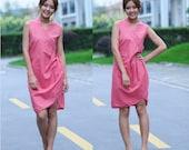 Ethnic Style Flower Bud Linen sleeveless dress / 17 Colors