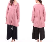 Babydoll Linen Dress Long Blouse with Lovely  Collar/ 20 Colors/ RAMIES