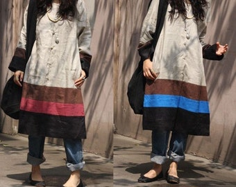 Patchwork Linen Long Shirt Dress/ Any Size/ 2 COLORS/ RAMIES