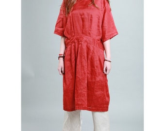Leisure Style Pleated Linen Dress/ Any Sizes/ 12 Colors/ RAMIES
