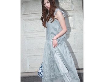 Two Layers Strap dress/ White and Bluish Grey/ RAMIES