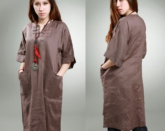Ethnic Chinese Style Linen Long Dress/ 27 COLORS/ Any Sizes/ RAMIES