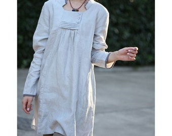 Babydoll Pleated Linen Dress/ 18 COLORS/ RAMIES